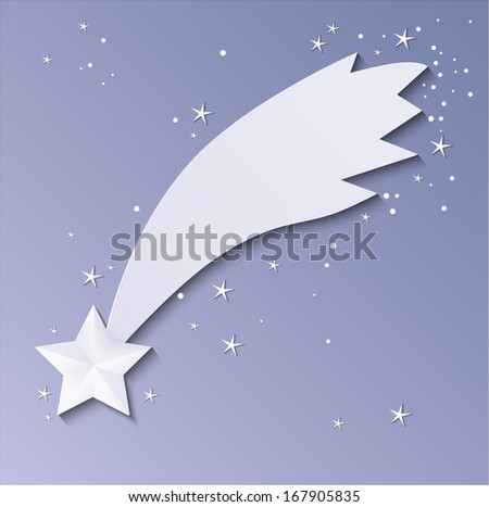3D Paper shooting star.Vector - stock vector