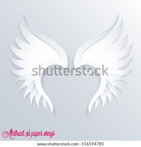 3d paper wings - vector eps10 illustration - stock vector