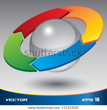 3D PDCA vector color, can use for business concept, education diagram, brochure object. - stock vector