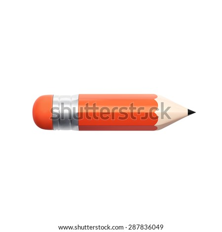 3d pencil illustration with shadow, isolated on white - stock vector