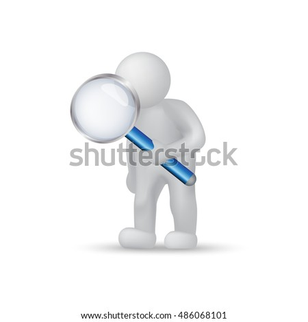 3D People With A Magnifying Glass - Isolated On White Background. Vector Illustration, Graphic Design. For Web, Websites, Print Material, Template