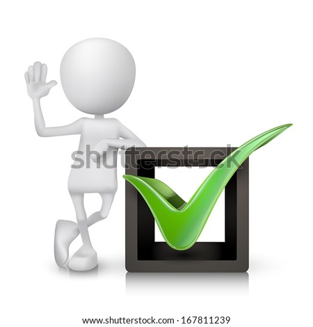 3d person and green check mark in box isolated white background - stock vector
