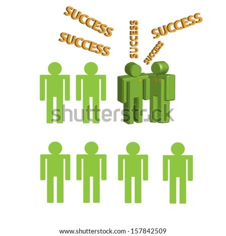 3d person human character - Congratulation, Success. Vector illustration. Eps 10. - stock vector