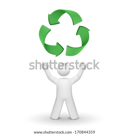 3d person looking up at the recycling symbol isolated white background - stock vector