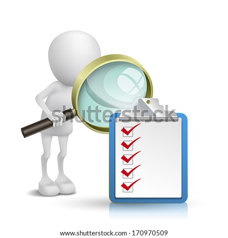 3d person watching a clipping note pad and check list with a magnifying glass - stock vector