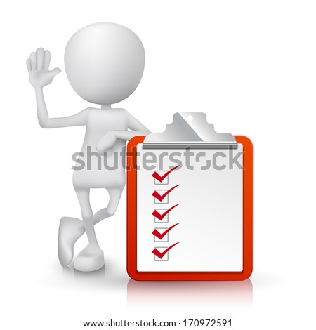 3d person with a clipping note pad and check list - stock vector