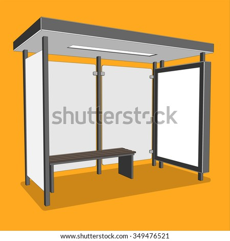 3D perspective bus stop. Isolated bus shelter with citylight for your Ad. Vector illustration - stock vector