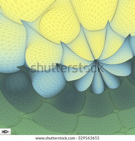 3d Perspective Grid Background. Mosaic. Abstract Geometric Illustration. Futuristic Technology Style. Texture.  - stock vector