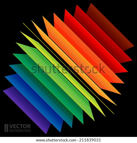 3d perspective rainbow abstract rectangles on black background. RGB EPS 10 vector illustration - stock vector