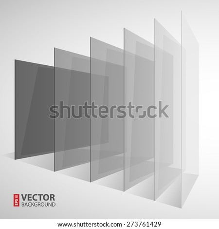 3d perspective transparent gray abstract rectangles on white background. RGB EPS 10 vector illustration - stock vector