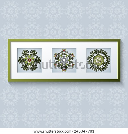 3D picture frame design vector with floral ornaments. Realistic template square photo frames with shadow. Triptych.