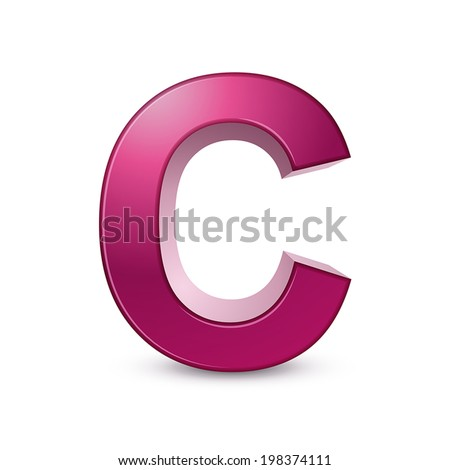 3d pink letter C isolated white background - stock vector