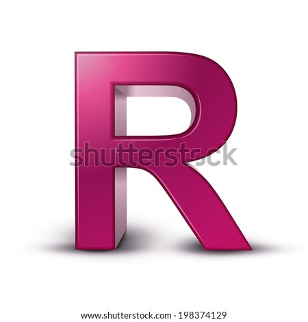 3d pink letter R isolated white background - stock vector