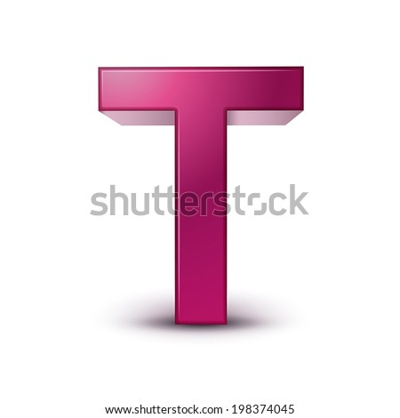 3d pink letter T isolated white background - stock vector