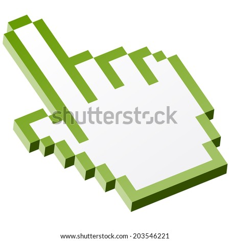 3D Pixel graphic hand - forefinger green - stock vector