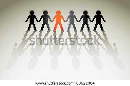 3d pixel human figures in a row - illustration - stock vector