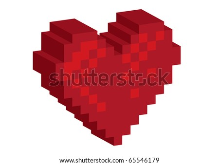 3D Pixel red heart - illustration