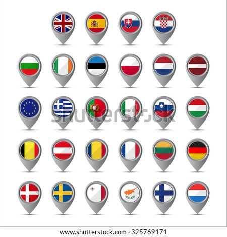 3D pointer with the flags of European Union isolated on white background - stock vector