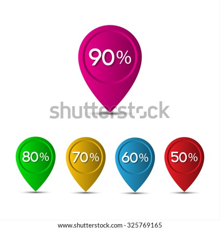 3D pointer with the percentage discounts isolated on white background - stock vector