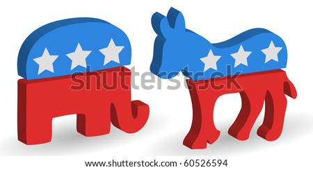 3d political Democrat and Republican party symbols - stock vector
