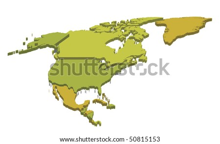 3d political map of north america with country territories - stock vector