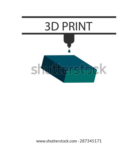 3D print. blue rectangle - stock vector