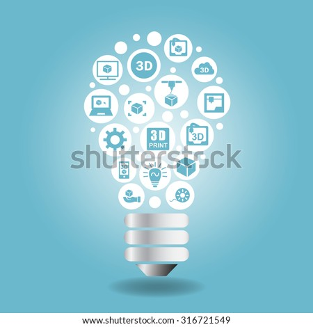 3D print concept - 3D printer icon with light bulb - stock vector
