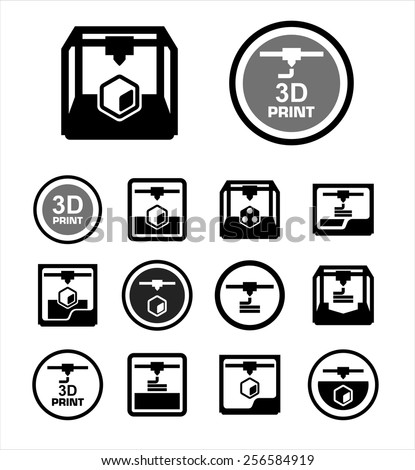 3D print icon set - stock vector