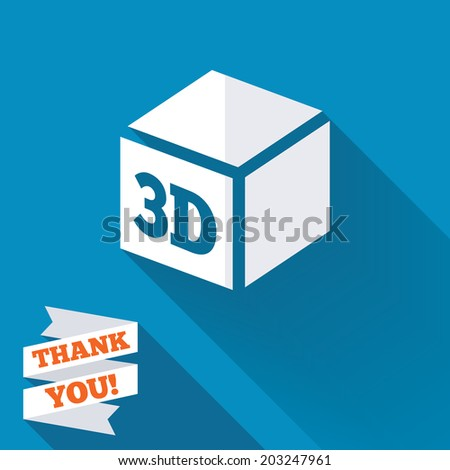 3D Print sign icon. 3d cube Printing symbol. Additive manufacturing. White flat icon with long shadow. Paper ribbon label with Thank you text. Vector - stock vector