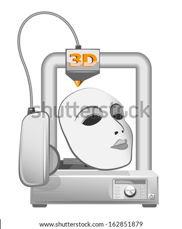 3d printer and white mask. Vector illustration - stock vector