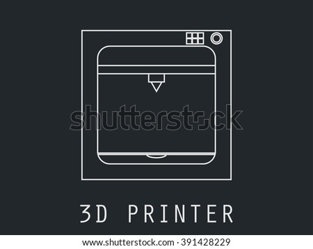 3d printer icon from the geometric lines. Vector. - stock vector