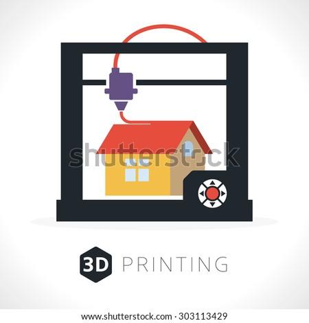 3d printer icon. Illustration of desktop 3d printer. - stock vector