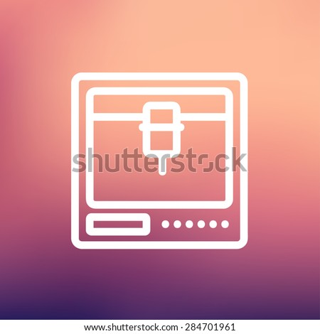 3D printer icon thin line for web and mobile, modern minimalistic flat design. Vector white icon on gradient mesh background. - stock vector