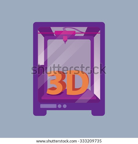 3D Printer on a Blue Background - stock vector