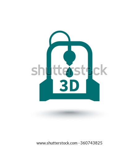 3d printer, printing, additive manufacturing, isolated icon, vector illustration - stock vector