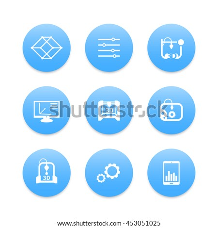 3d printer, printing icons set, modeling, additive manufacturing, designing - stock vector