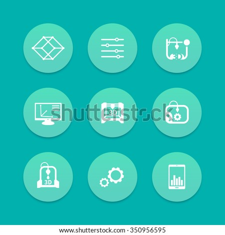 3d printer, printing, modeling, additive manufacturing icons, aquamarine set, vector illustration - stock vector