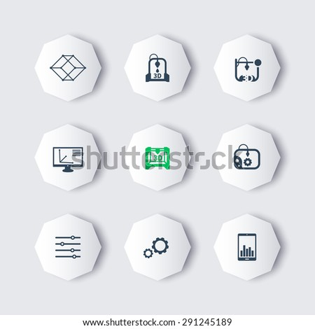 3d printer, printing, modeling, additive manufacturing, modern octagon icons, vector illustration, eps10, easy to edit - stock vector