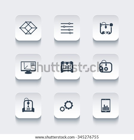 3d printer, printing, modeling, additive manufacturing, rounded square icons set, vector illustration - stock vector