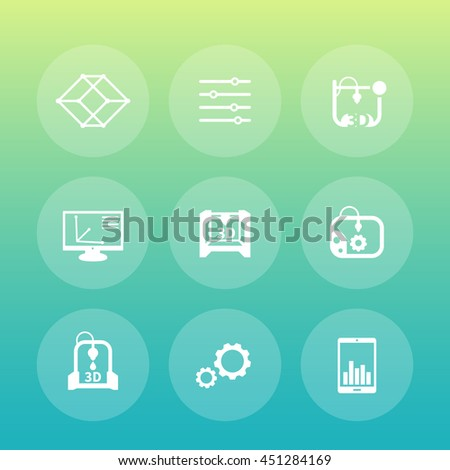 3d printer round icons, additive manufacturing - stock vector
