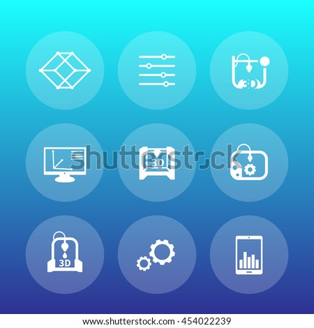 3d printer round icons, additive manufacturing, printing - stock vector