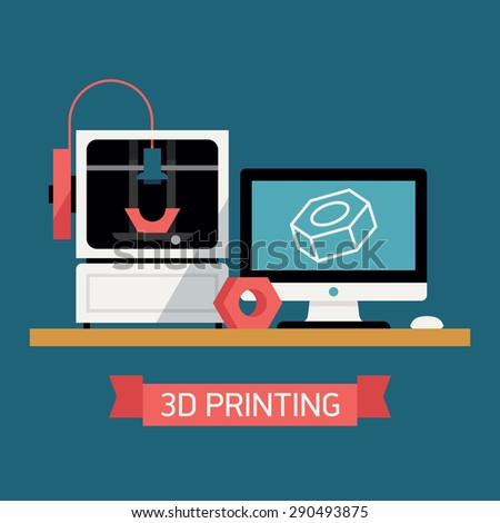 3D printing concept design with desktop computer with digital 3D model on screen, 3D printer and finished prototype object  - stock vector