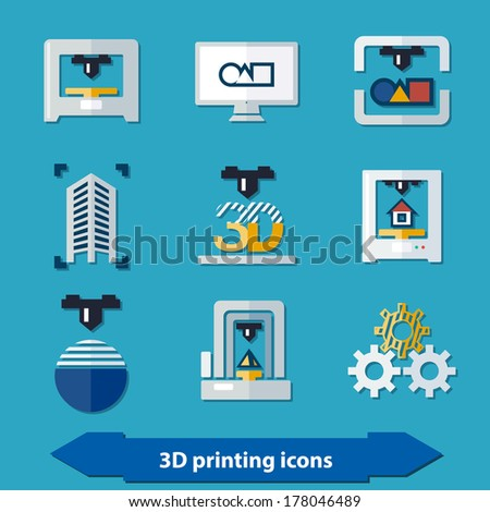 3d printing icons in flat colors style - stock vector