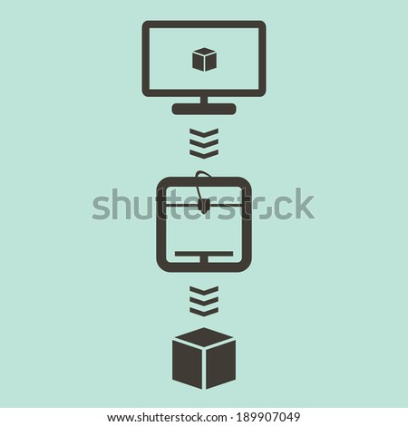 3D Printing Process with Computer Project, 3d Printer and Ready Cube Product in a Minimalist Style. Vector Illustration - stock vector