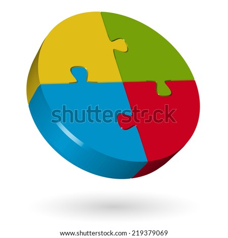 3D puzzle circle - 4 parts - stock vector