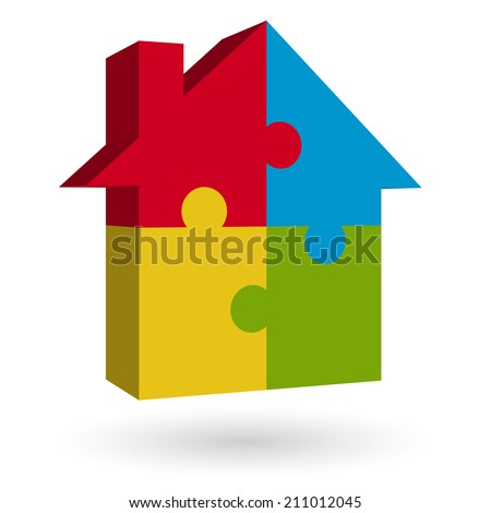 3D puzzle house - stock vector