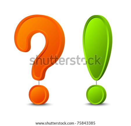3d question mark and exclamation mark - stock vector