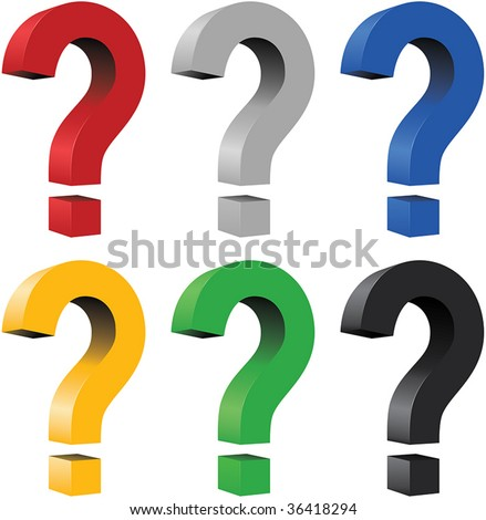 3D question mark - blend and gradient only - stock vector