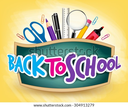 3D Realistic Back to School Title Poster Design in a Blackboard with School Items in a Background. Editable Vector Illustration - stock vector