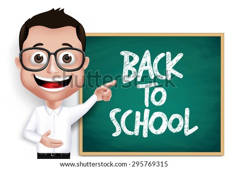 3D Realistic Genius Nerd Student, Professor or Teacher with Eyeglasses Happy Teaching in Front of Blackboard With Back to School Text Written. Vector Illustration - stock vector